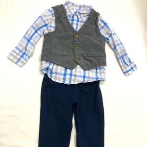 3 pc. Boys Outfit Toddlers 2T Pants Vest Shirt